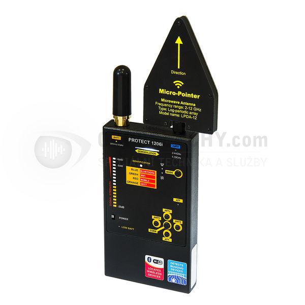 Univerzální detektor odposlechu Protect 1206i s identifikací komunikačních pásem GSM, DECT, Bluetooth, Wifi